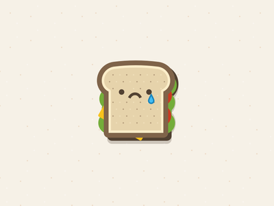 Sad Sandwich tear cry cheese tomato lettuce sad lunch illustration sandwich food character wlebovics