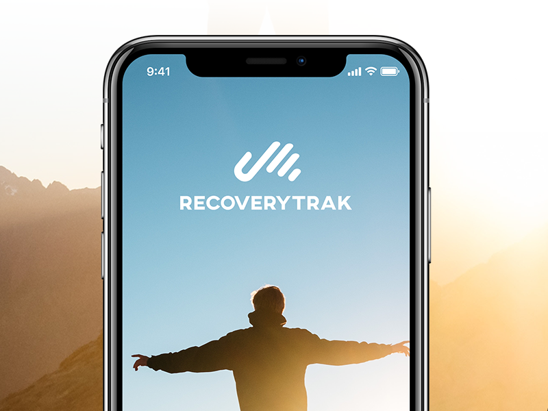 RecoveryTrak Branding mock screen splash free iphone x hand recover addiction mark logo branding wlebovics