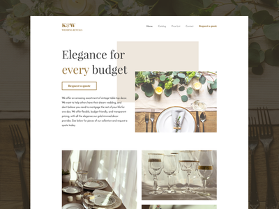K&W Wedding Rentals dinner kitchen event rental wedding gold elegant ui desktop website wlebovics
