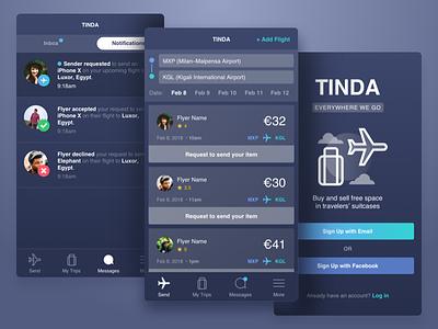 TINDA UX/UI login message trip travel search flight send app dark ux ui wlebovics