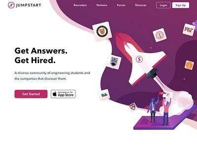 Jumpstart.me branding hire recruiting school college hero banner illustration rocket landing page desktop web hero jumpstart wlebovics