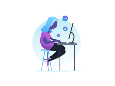 Coding Girl computer icons job hiring college recruiting gradient ipad checkin event desk stool bubbles jumpstart illustration wlebovics