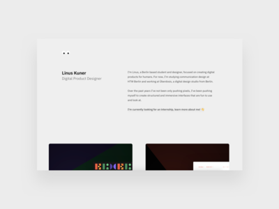 Portfolio 2018 cards website interface internship portfolio