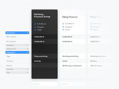 Compare bids platform finance interface cards fintech