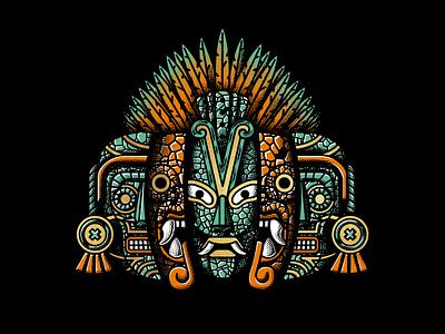 """Raices"" mask aztec jade jaguar design mexico skate skateboarding illustration"