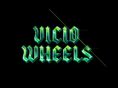 Vicio Wheels Chrome Logo chrome gothic blackletter skateboarding letters logotype typography logo branding design illustration