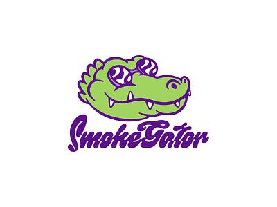 Smokegator character design character logo design logodesign logotype logo aligator smoker smokeshop