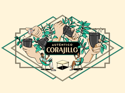Auténtico Corajillo wall mural design mexico artdeco carajillo coffee branding illustration