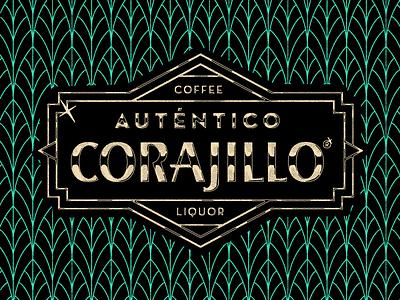 Auténtco Corajillo Signage coffee typography tropical branding pattern illustration artdeco