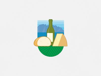 Wine, cheese & bread logo illustration switzerland food wine cheese bread