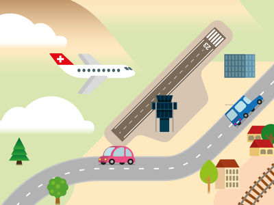 Geneva, around the airport… control tower cars airport map cartography illustration