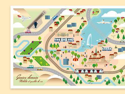 Genève demain train lake geneva switzerland map cartography illustration