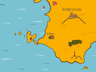 Sunny South of France travel island france see illustration map cartography