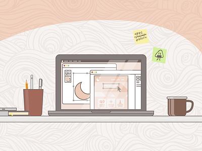 Desk Illustration postit mug computer office desk illustration