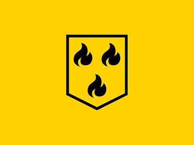 Firemen logo angular heraldic shield firemen minimal logo