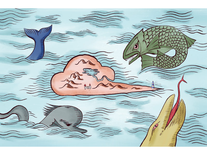 Medieval Map - mapmaking identity beast island sea monster medieval illustartion mapmaking map
