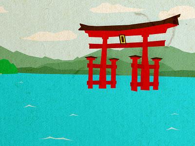Miyajima illustration japan miyajima toori hiroshima itsukushima shrine