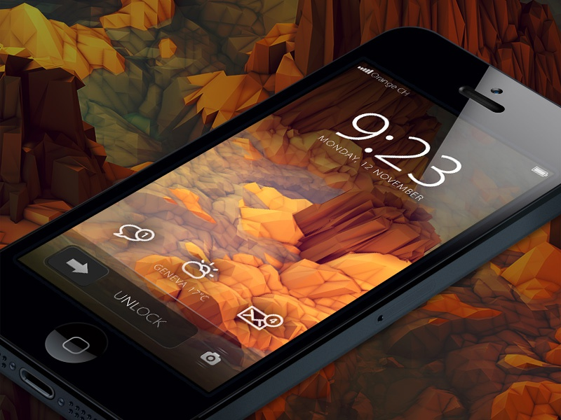 Revisited iPhone home screen iphone home screen ui interface icons concept minimal ios7 ios