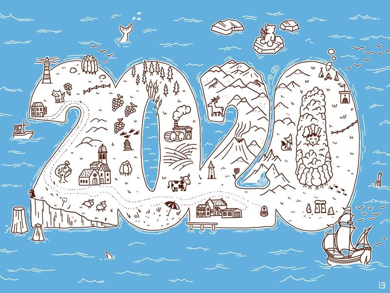 2020 island lighthouse island cartography illustration map