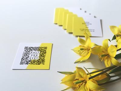 Business cards for Kultprosvet team members kultprosvet identity qr code business card