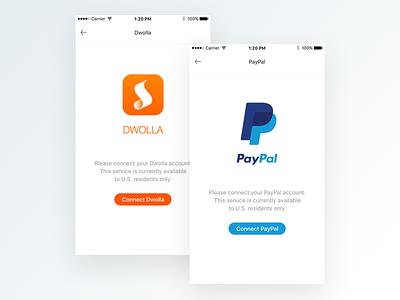 Payment system authorization flow option interface color flat ux ui app dwolla paypal payment