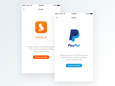 Payment system authorization flow option interface color flat ux ui app dwolla paypal payment
