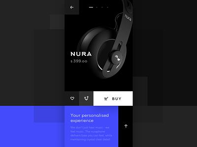 UI exploration: nuraphone product page blue flat store mobile iphonex earphones block style product page ux ui