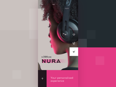 UI exploration: nuraphone product page (version 2) ui ux product page block style earphones iphonex mobile store flat pink