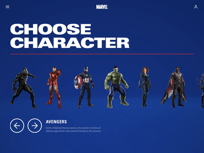 Avengers character selector prototyping 3d animation animation after effects ui animation after effects animation after effects ui app design 3d carousel war machine captain america thor marvel marvelcomics avengers