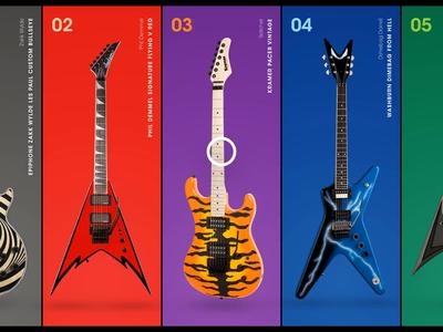 Guitar list carousel alexi satchel dimebag esp washburn kramer metal after effects animation after effects ui animation carousel guitars