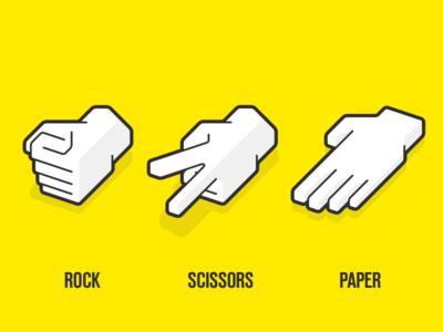 Rock Paper Scissors yellow scissors paper rock icon hand cursor