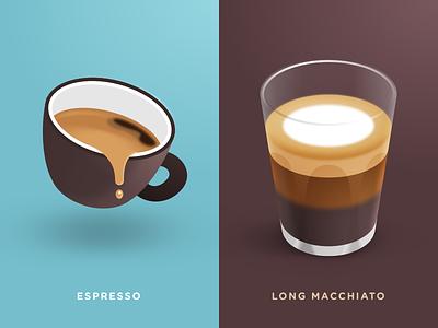 Espresso & Long Macchiato long macchiato espresso icons coffee