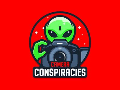 Camera conspiracies logo concept gh5s lumix conspiracy youtube channel youtube logo icon alien camera