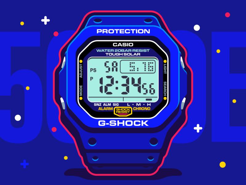 Casio G-SHOCK G5600e-1 clock gshock digital illustration watch icon 5600 casio g-shock