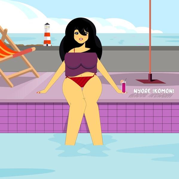 Pool Girl beach digital 2d art vector digitalart design animation illustration