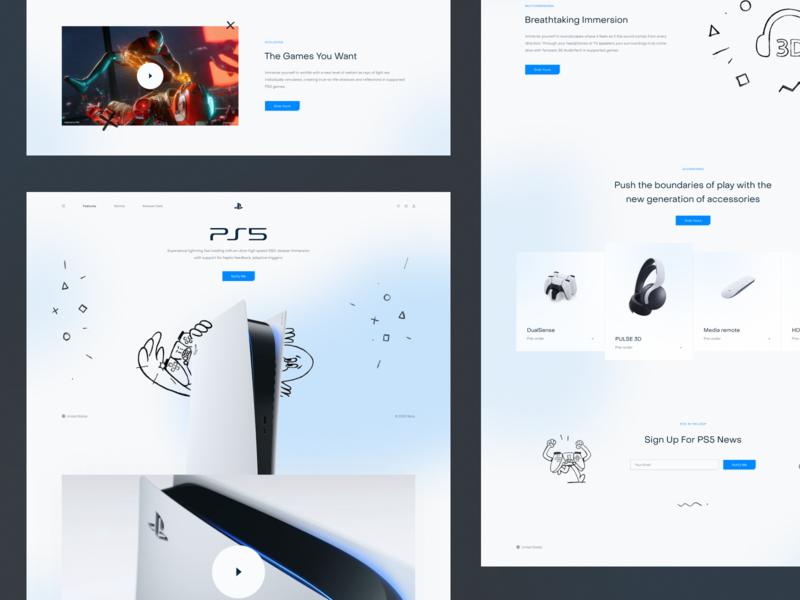 PlayStation 5 Promo Website landing page interface playstation ps5 website illustration