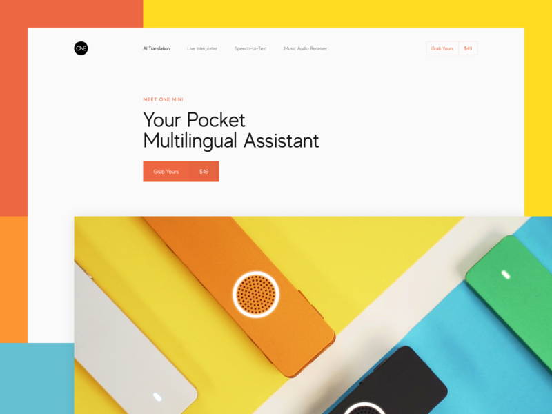 Promo Website for Pocket Multilingual Assistant grid whitespace utilization neat composition simple layout bright colors future futuristic device minimal clean translation experience product ui ux data visualization startup experimental experiment promo website web design zajno
