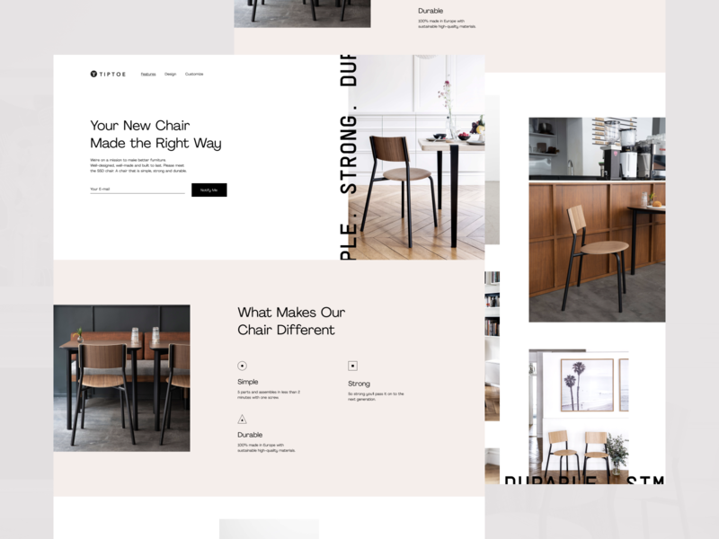 Promo Website for a Truly Good Chair product whitespace utilization neat layout simple bright colors future quality minimal clean chair experience geometric ui ux data visualization startup experimental experiment promo website web design zajno