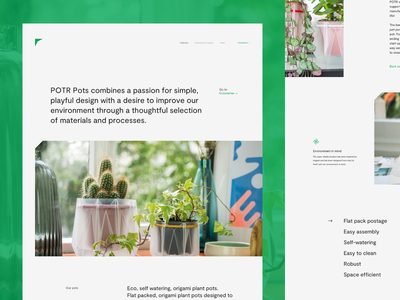 Landing Page for Eco, Self-watering Origami Plant Pots layout minimalist interface minimal business simple website vector logo flat clean recycling brand identity plant product typography eco ui ux web design zajno