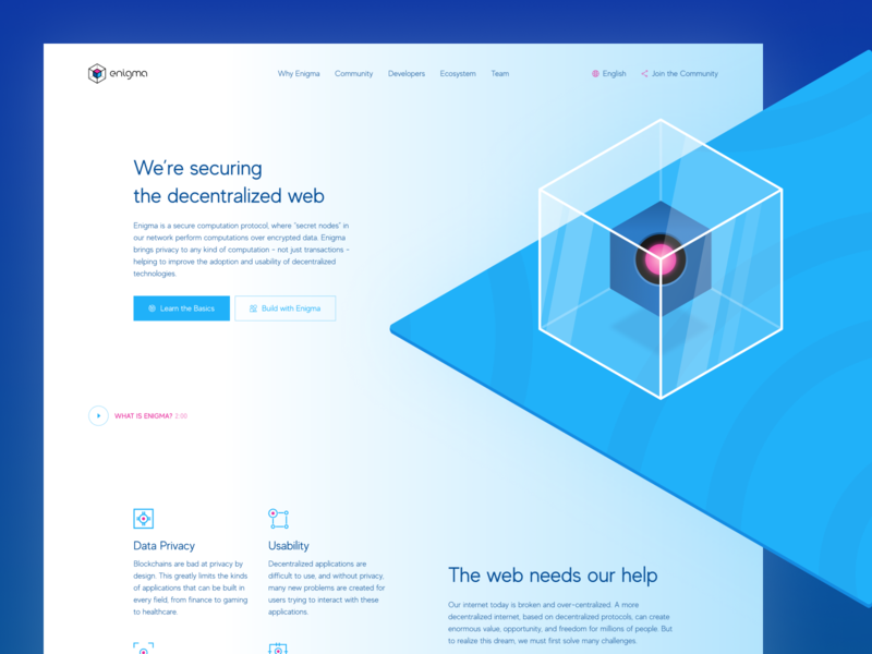 New Website for Enigma Data Privacy Startup ui ux icon simple vector abstract colors logo illustrated brand minimal branding flat transparent cube security data privacy decentralized blockchain inspiration illustration visual zajno