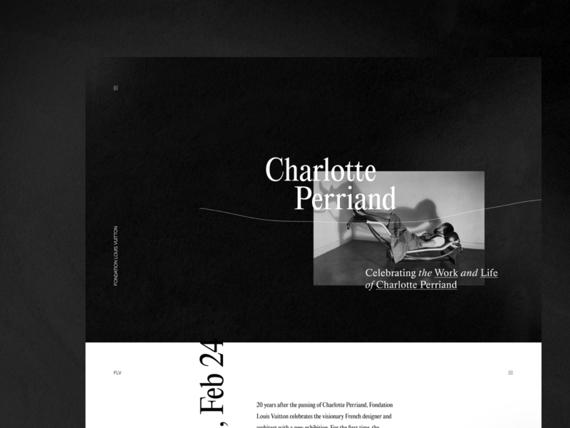 Charlotte Perriand: Inventing a New World data visualization photography typography experimental stylish brutalism bold broken grid simple minimal clean architecture product design web design ui ux zajno