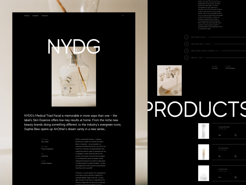 Landing Page for Luxurious Cosmetics Brand experiment concept landing page layout interface minimal business simple promo website vector flat clean branding product typography fashion ui ux web design zajno