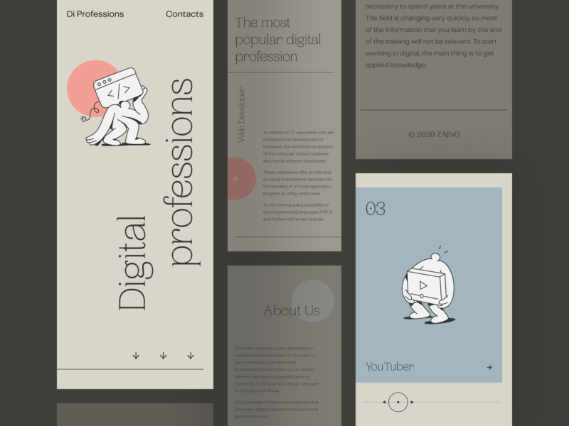 Digital Creative Jobs Educational Platform: Mobile Version illustration mobile