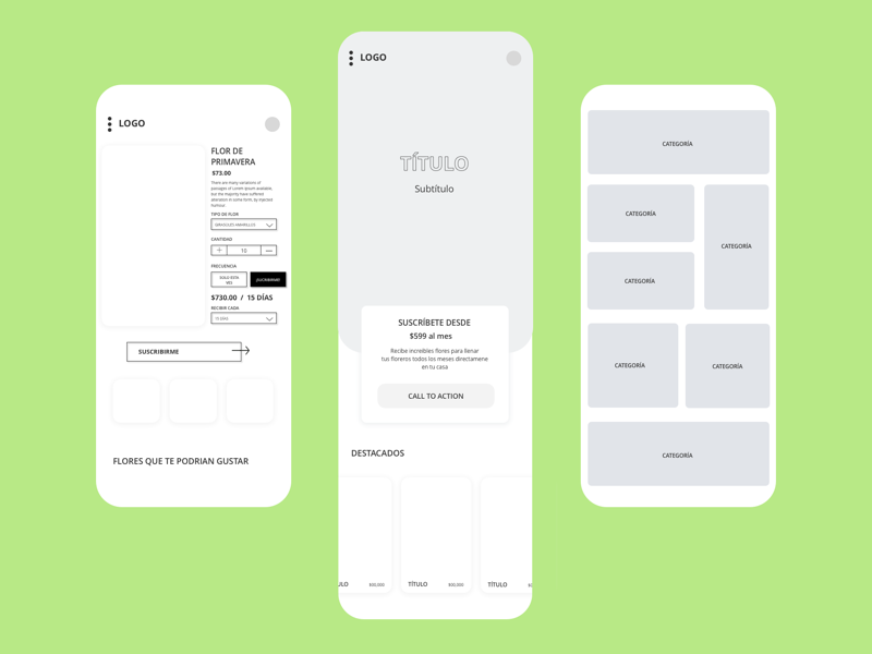 Wireframes for Flower Delivery E-commerce mobile ux mobile design web design design ux ui