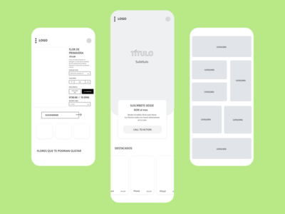 Wireframes for Flower Delivery E-commerce