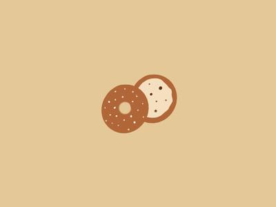 Illustration: breakfast time - bagel