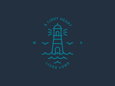 A light heart lives long vector logo illustration badge