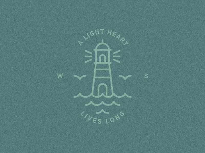 """A light heart lives long"" — William Shakespeare draft quote symbol logo lighthouse illustration badge william shakespeare"