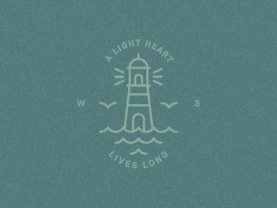 """A light heart lives long"" — William Shakespeare draft quote symbol logo lighthouse illustration badge william shakespeare"