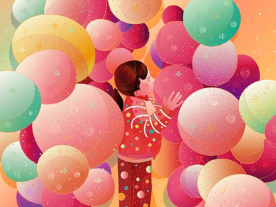 balloons with babygirl typography painting illustration